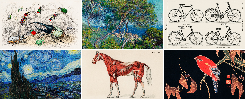 Peintures et images anciennes améliorées numériquement – Images trouvées sur Rawpixel, CC0 (Images gratuites et libres de droits).