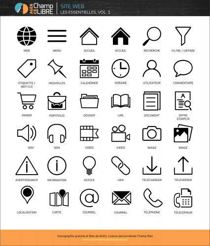 Ressources gratuites et libres de droits à télécharger – 36 icônes web – Agence Champ libre, licence personnalisée (free icons)