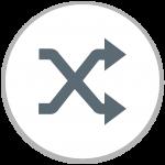 Icône identifiant la fonctionnalité Aléatoire dans Adobe Spark.