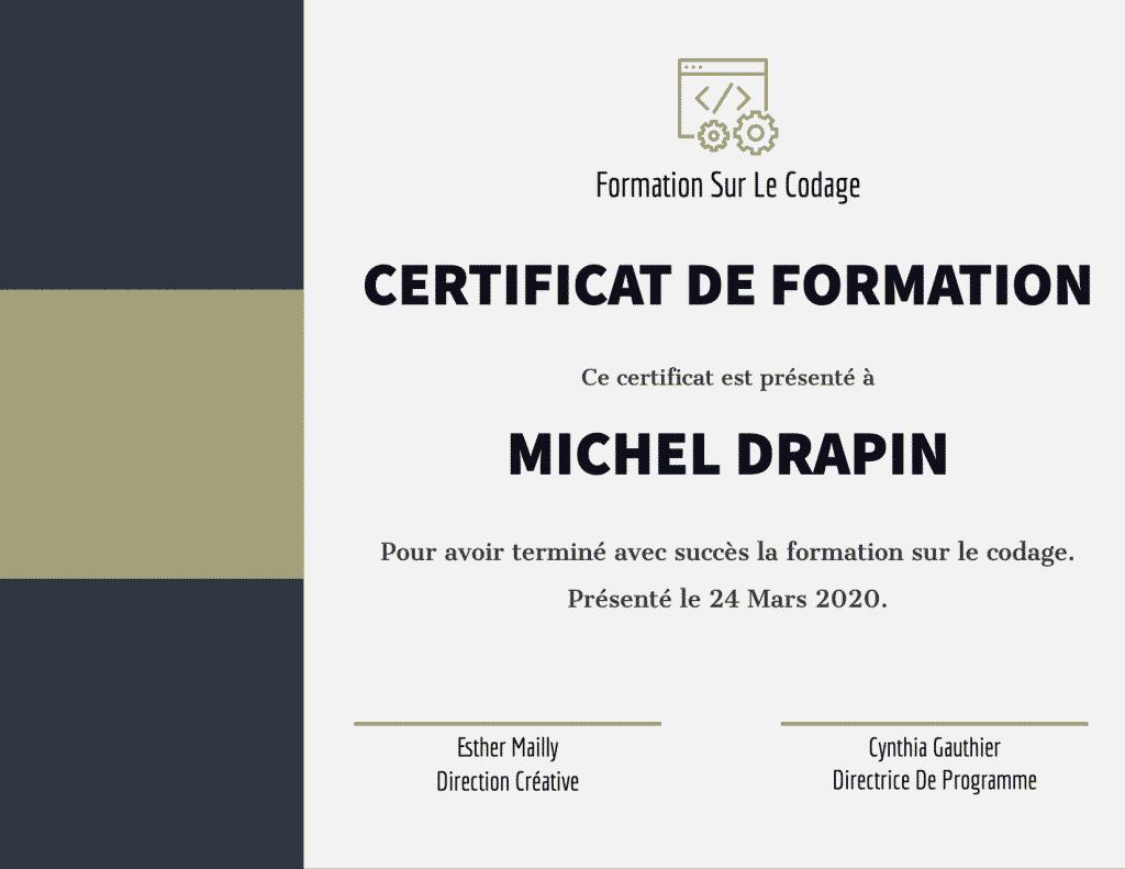 Modèle en français pour la création de certificats. Modèle gratuit offert par Adobe Spark.