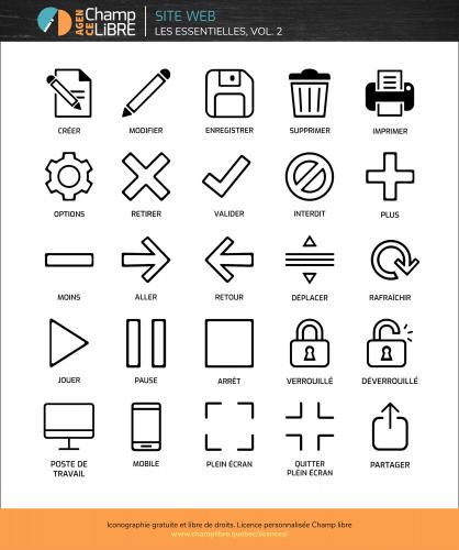 Ressources gratuites et libres de droits à télécharger – 25 icônes web – Agence Agence Champ libre, licence personnalisée (free icons)